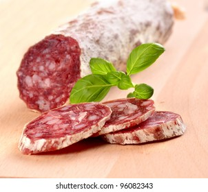 Sliced salami close-up shot