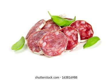 sliced salami isolated on white backrgound