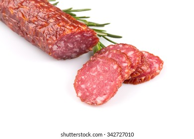 sliced salami isolated on a white background