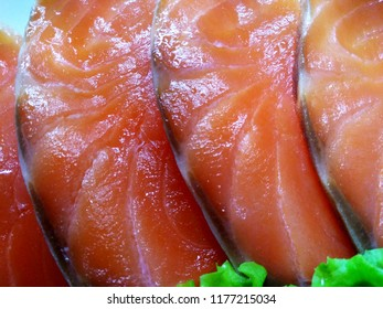 Sliced salmon closeup.