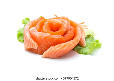 Sliced salmon isolated on white background