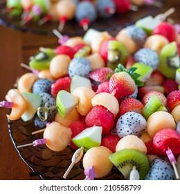 sliced several fruit for chocolate fondue