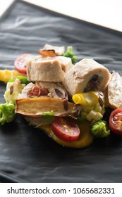 Sliced Steamed Chicken Roll with Vegetables