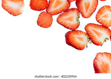 Sliced strawberries food pattern.