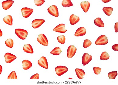Sliced strawberries food pattern. Clipping path