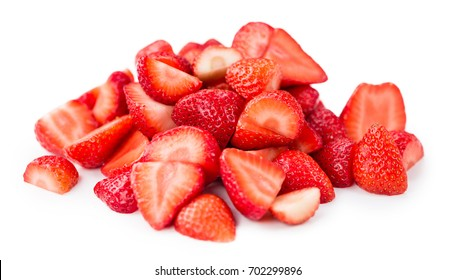 Sliced Strawberries isolated on white background, selective focus, close-up shot