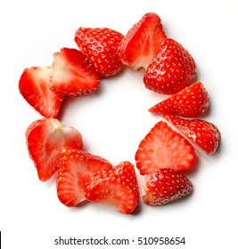 sliced strawberry circle isolated on white background, top view