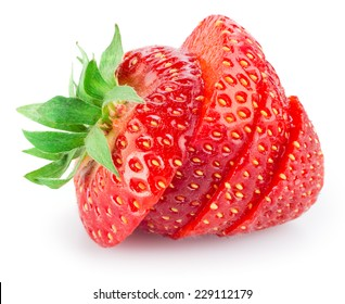 Sliced strawberry isolated on white