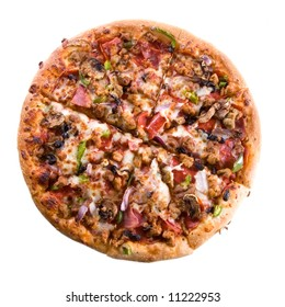 sliced supreme pizza on isolated background