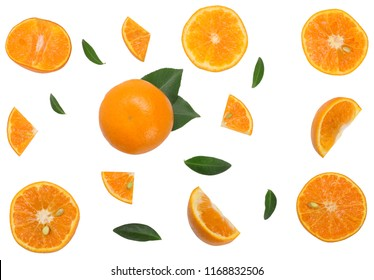 Sliced of tangerine isolated on white, top view.