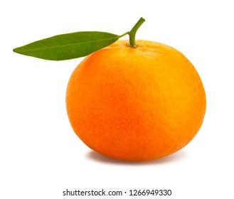 sliced tangerine path isolated leaves