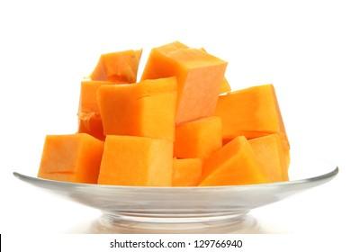 Sliced tasty pumpkin, isolated on white