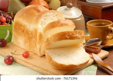 Sliced Toast Breadon  on a Cutting Board