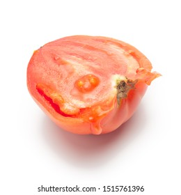 sliced tomato on a white background
