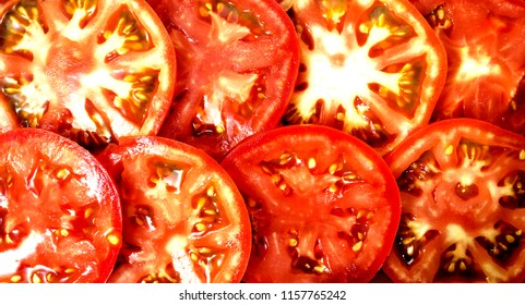 Sliced tomatoes,background of sliced tomatoes