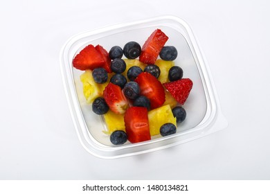 Sliced tropical fruit mix snack in the box