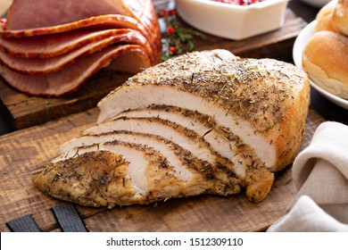 Sliced turkey on Thanksgiving or Christmas dinner table