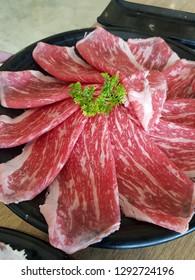 sliced wagyu boof for shabu suki hot pot in Thailand