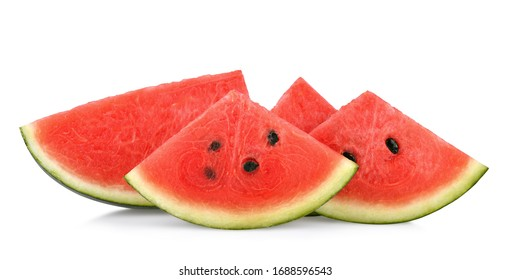 Sliced of watermelon isolated on white background. with clipping path