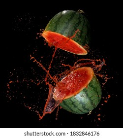 Sliced Watermelon with watermelon juice splash,Stop motion