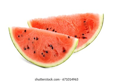 sliced watermelon on white background.