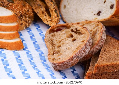 Sliced white and wholegrain bread