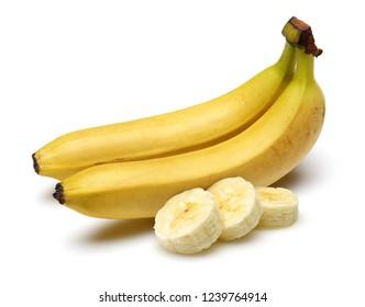 Sliced and whole bananas isolated on white background. Studio shot