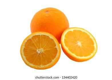 Sliced and whole orange fruits isolated on white background