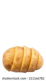 Sliced whole potato over white background