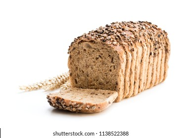 Sliced  wholemeal rye bread with pearl barley isolated on white