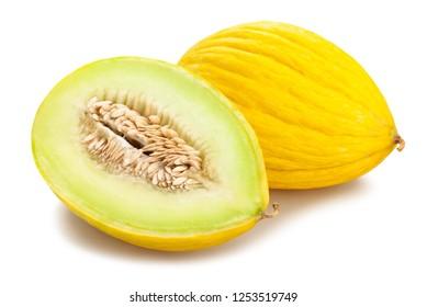 sliced yellow honeydew melon path isolated