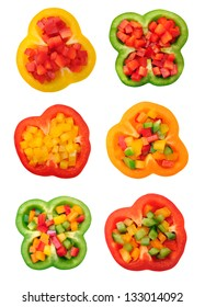 sliced yellow and red bell pepper isolated on white background