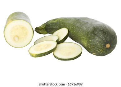 Sliced zucchini or courgette isolated on a white background