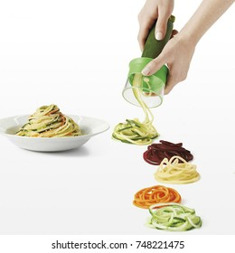 Slicer grater cooking spaghetti with vegetables pasta grated cucumber carrot