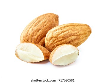Slices of almond nuts isolated on white background with clipping path. Macro photography with great depth of field. DoF .