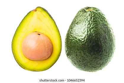 Slices of avocado isolated on the white background