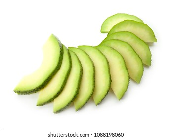 Slices of avocado isolated on white