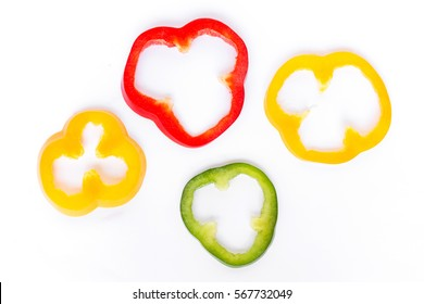 Slices of bell pepper isolated on white background