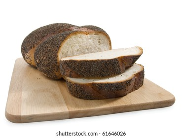 Slices of bread on a breadboard, isolated