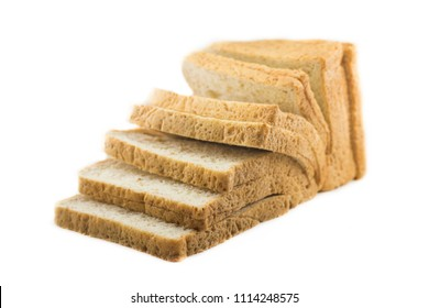 Slices bread on isolated white background.