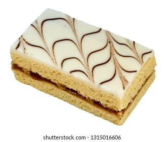 slices of bread on a plate isolated on white White sand cake