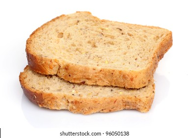 Slices of bread on white