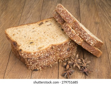 Slices of bread on a wooden table