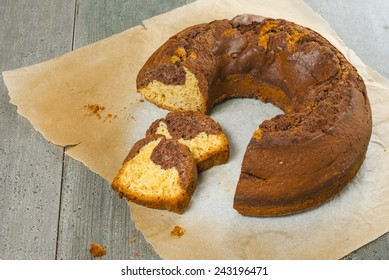 slices of bundt cake on old wooden table