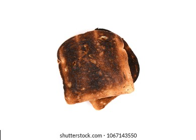 slices of burnt toast wheat bread isolated on white background
