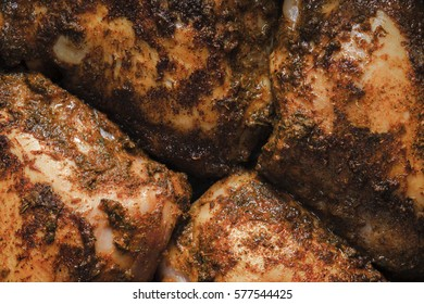 Slices Butter Chicken close up horizontal