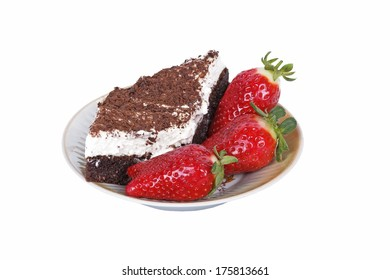slices of cake with chocolate and strawberry on a white background
