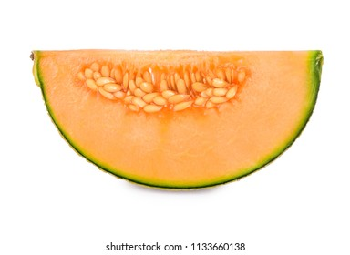 a slices of cantaloupe melon fruits isolated on white background.