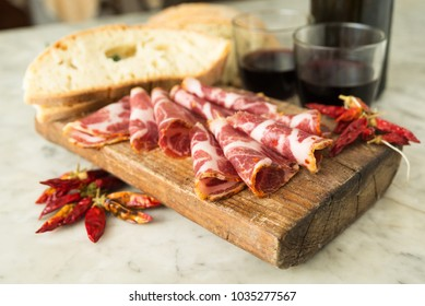 Slices of Capocollo, typical southern Italian Salami