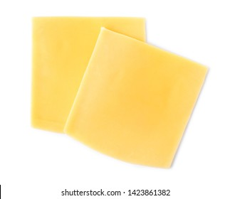 Slices of cheese for burger isolated on white, top view - Shutterstock ID 1423861382